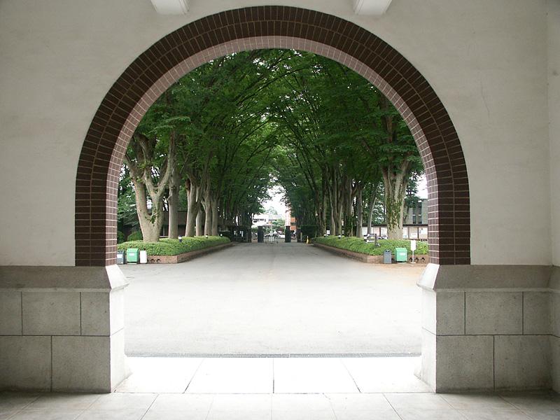 玄関より正門を臨む